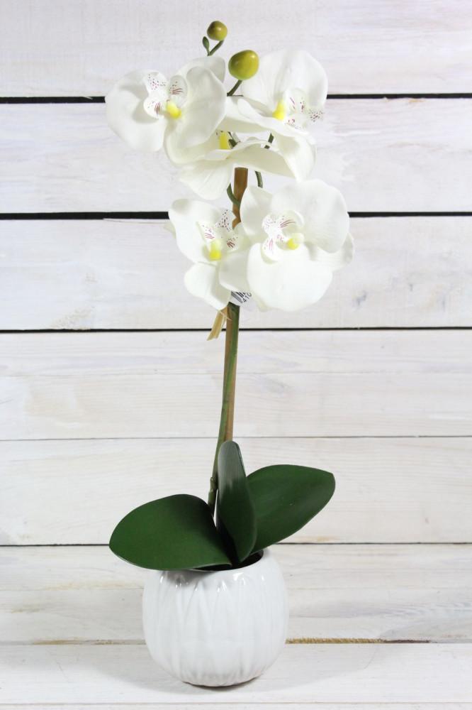 Umelá ORCHIDEA v črepníku - biela (v. 40 cm)
