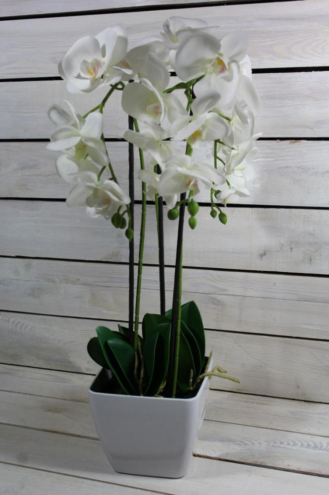 Umelá ORCHIDEA v črepníku - biela (v. 55 cm)