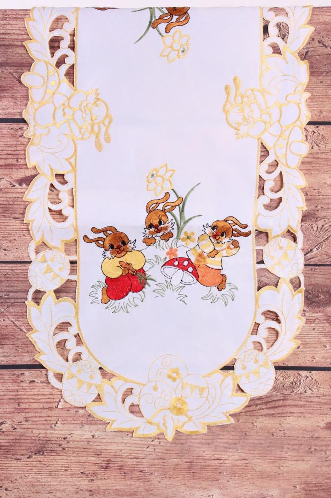 Veľkonočný obrus ZAJAČIKY A HRÍBY - žlto-biely (40x90 cm)