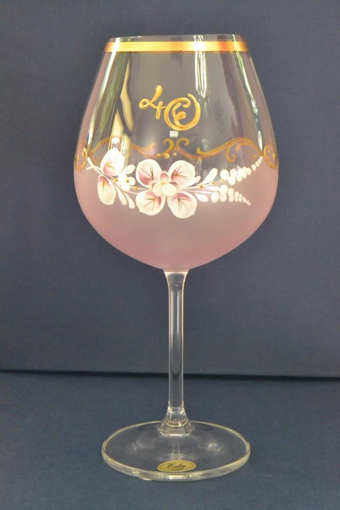 Výročný pohár na 40. narodeniny - NA VÍNO - ružový (v. 23 cm)