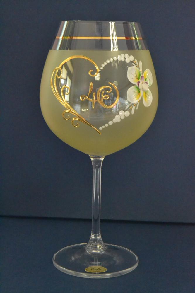 Výročný pohár na 40. narodeniny - NA VÍNO - žltý (v. 23 cm)