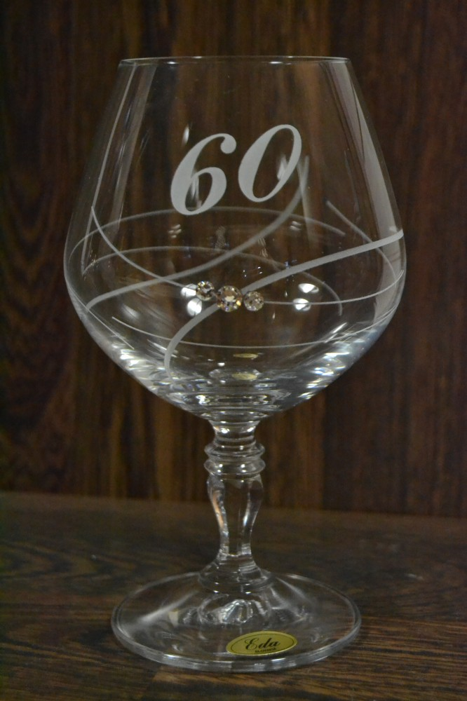 Výročný pohár na 60. narodeniny BRANDY so swarovski kryštáľmi