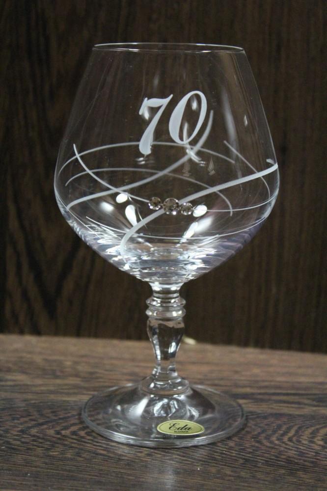 Výročný pohár na 70.narodeniny BRANDY so swarovski kryštálmi