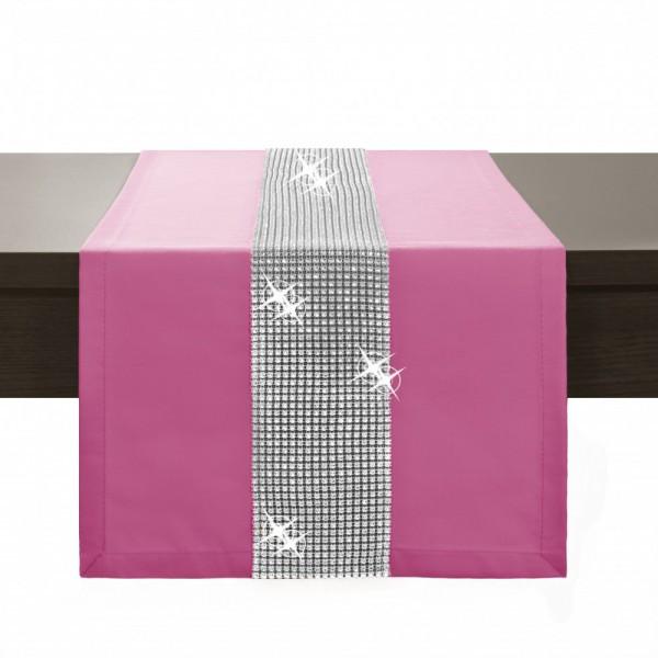 Behúň na stôl Glamour so zirkónmi ružový Ružová 40 x 110 cm
