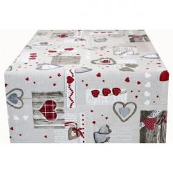 Behúň na stôl červené srdiečka Made in Italy, Béžová, 50 x 150 cm