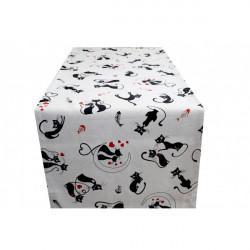 Behúň na stôl čierne Mačky Made in Italy, 50 x 150 cm