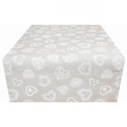 Behúň na stôl biele srdiečka Made in Italy 50 x 150 cm