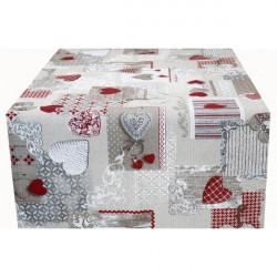 Behúň na stôl patchwork červené srdiečka Made in Italy, 50 x 150 cm