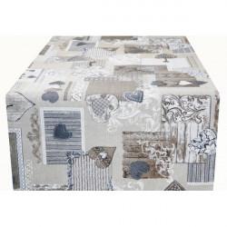 Behúň na stôl patchwork šedohnedé srdiečka Made in Italy, 50 x 150 cm