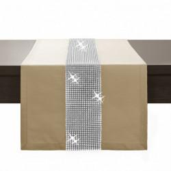Behúň na stôl Glamour so zirkónmi béžový Béžová 40 x 110 cm
