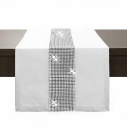 Behúň na stôl Glamour so zirkónmi biely Biela 40 x 110 cm