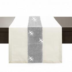 Behúň na stôl Glamour so zirkónmi krémový Krémová 40 x 110 cm