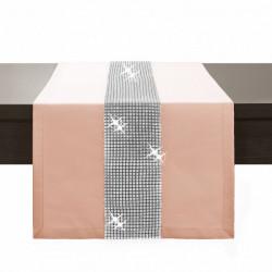 Behúň na stôl Glamour so zirkónmi lososový Korálová, lososová 40 x 110 cm