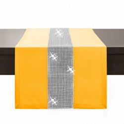Behúň na stôl Glamour so zirkónmi žltý Žltá 40 x 110 cm