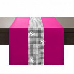 Behúň na stôl Glamour so zirkónmi tmavoružový Ružová 40 x 110 cm