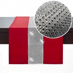 Behúň na stôl Glamour so zirkónmi červený Červená 40 x 110 cm
