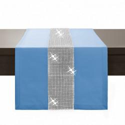 Behúň na stôl Glamour so zirkónmi blankytne modrý Blankytna modrá 40 x 110 cm