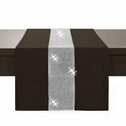 Behúň na stôl Glamour so zirkónmi tmavohnedý Hnedá 40 x 110 cm