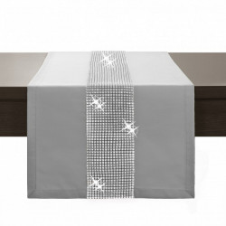 Behúň na stôl Glamour so zirkónmi svetlošedý Šedá 40 x 110 cm