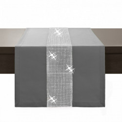 Behúň na stôl Glamour so zirkónmi tmavošedý Šedá 40 x 110 cm