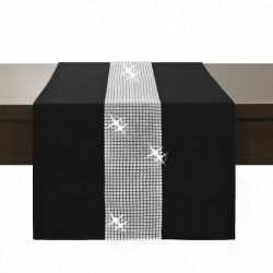 Behúň na stôl Glamour so zirkónmi čierny Čierna 40 x 110 cm