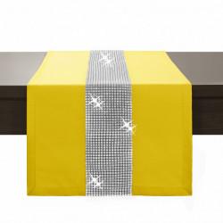 Behúň na stôl Glamour so zirkónmi pastelovo žltý Žltá 40 x 110 cm