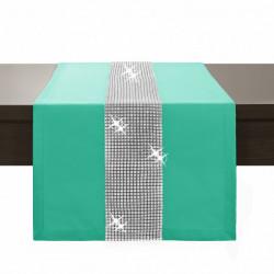 Behúň na stôl Glamour so zirkónmi mätový Mäta 40 x 110 cm