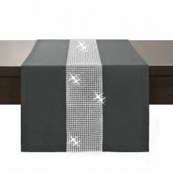 Behúň na stôl Glamour so zirkónmi grafitový Grafitová 40 x 110 cm