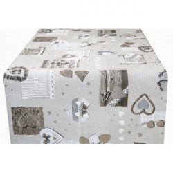 Behúň na stôl šedohnedé srdiečka Made in Italy, Béžová, 50 x 150 cm