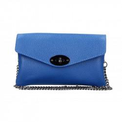 Azurovo modrá kožená kabelka na rameno MADE IN ITALY, Farba azurovo modrá MADE IN ITALY 5303