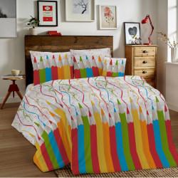 Bavlnené obliečky MIG002CR Ceruzky viacfarebné Made in Italy, 1x80x80/1x140x200 cm