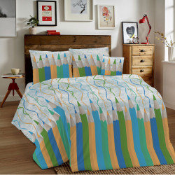 Bavlnené obliečky MIG002CR Ceruzky zelené Made in Italy, Zelená, 1x80x80/1x140x200 cm