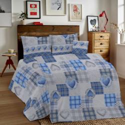 Bavlnené obliečky MIG002LO Láska modré srdiečka Made in Italy, Modrá, 1x80x80/1x140x200 cm