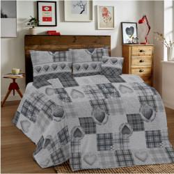 Bavlnené obliečky MIG002LO Láska šedé srdiečka Made in Italy, Šedá, 1x80x80/1x140x200 cm