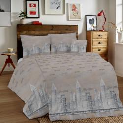 Bavlnené obliečky MIG002NY New York béžové Made in Italy, Béžová, 1x80x80/1x140x200 cm