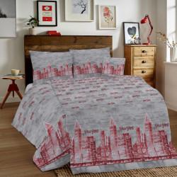 Bavlnené obliečky MIG002NY New York červené Made in Italy, Červená, 1x80x80/1x140x200 cm