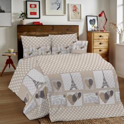 Bavlnené obliečky MIG002PA Paríž béžové Made in Italy, Béžová, 1x80x80/1x140x200 cm