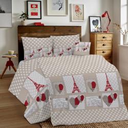 Bavlnené obliečky MIG002PA Paríž červené Made in Italy, Červená, 1x80x80/1x140x200 cm