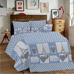 Bavlnené obliečky MIG002PA Paríž modré Made in Italy, Modrá, 1x80x80/1x140x200 cm
