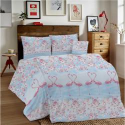 Bavlnené obliečky MIG002PL Plameniaci ružoví Made in Italy, Modrá, 1x80x80/1x140x200 cm