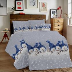 Bavlnené obliečky MIG002SN Modrí snehuliaci Made in Italy, Modrá, 140 x 200 cm