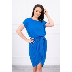 Bavlnené šaty s opaskom MI8980 azurovo modré Univerzálna Modrá
