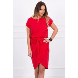 Bavlnené šaty s opaskom MI8980 červené Univerzálna Červená