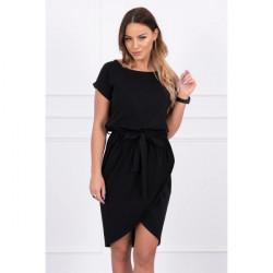 Bavlnené šaty s opaskom MI8980 čierne, Uni, Čierna