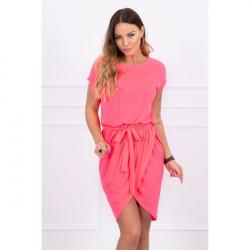 Bavlnené šaty s opaskom MI8980 neónovo ružové Univerzálna Ružová/neón
