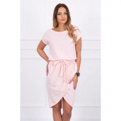 Bavlnené šaty s opaskom MI8980 pudrovo ružové, Uni, Pudrová ružová