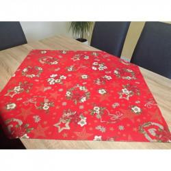 Bavlnený obrus červený Vianočné ruže MADE IN ITALY, červená, Rozmery 90x90 cm