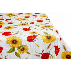 Bavlnený obrus slnečnice a divé maky Made in Italy, Béžová, 90 x 90 cm