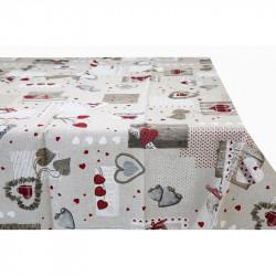 Bavlnený obrus so srdiečkami MADE IN ITALY, Farba béžová, Rozmery 90x90 cm  MADE IN ITALY 759