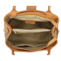 Béžová kožená kabelka 1137 Béžová #1